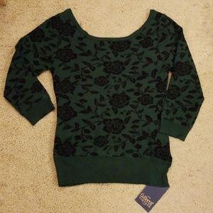 Floral boatneck sweater